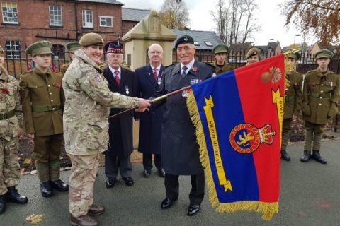 Association Presents New Colours to Oswestry Army Cadet Force